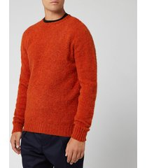 officine generale men's seamless crewneck brushed shet shirt - rust - xl