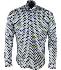 sonrisa luxury shirt in soft, precious and very fine stretch cotton flower with french collar in multicolor polka dot print in contrasting color