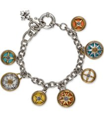 patricia nash two-tone crystal compass charm bracelet