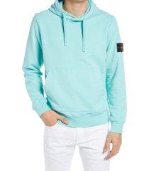 men's stone island cotton hoodie, size medium - blue/green