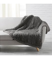 koc pleciony knitting antracyt