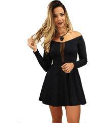 vestido racy modas princesa rodado com tule preto