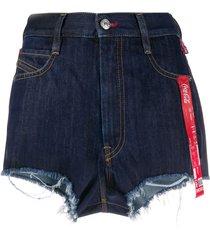 diesel coca-cola-ribbon denim shorts - blue