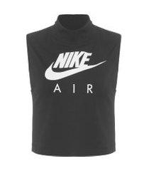 camiseta feminina w nsw air tank mock - preto