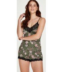 hunkemöller words blommiga pyjamasset grön