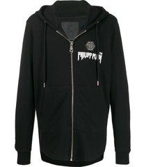 philipp plein stud detail zipped hoodie - black