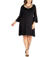 women's plus size criss cross neckline cold shoulder dress