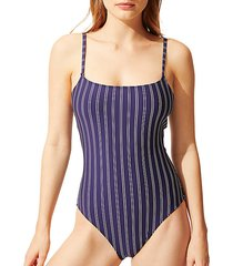 the nina pinstriped one-piece swimsuit