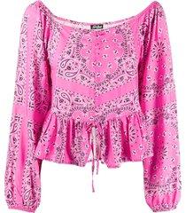 mc2 saint barth bandana print peplum blouse - pink