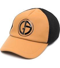 giorgio armani panelled logo-print cap - brown