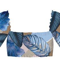 blusa ciganinha cropped estampa cenote - lez a lez