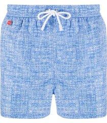 kiton short de natação com estampa chambray - azul