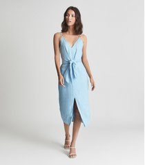 reiss kay - linen midi dress with tie detail in light blue, womens, size 14