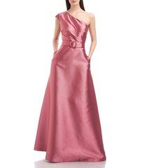women's kay unger estella one shoulder a-line satin gown, size 8 - pink