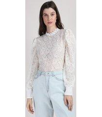 blusa de renda feminina mindset manga bufante decote redondo off white