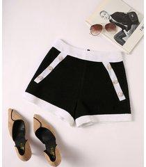yoins botón negro y cremallera diseño patchwork shorts de cintura media