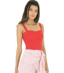 blusa cropped regata lisa - vermelho - feminino - dafiti