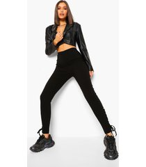stretch skinny fit broek met veters, zwart