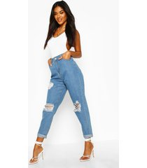mid rise super distressed boyfriend jeans, light blue