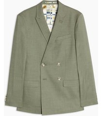 mens green khaki skinny fit double breasted suit blazer with peak lapels