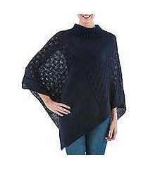 knit poncho, 'navy reality squared' (peru)