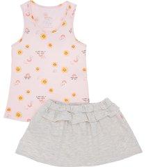 conjunto corto rosado  offcorss