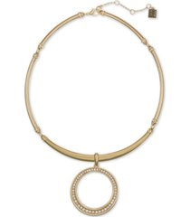 """laundry by shelli segal gold-tone pave circle flexible collar pendant necklace, 16"""" + 2"""" extender"""