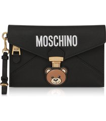 moschino teddy bear black leather clutch w/wristlet