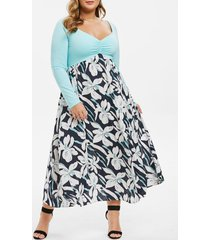 plus size raglan sleeve pleated front floral dress