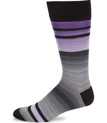 space dye striped cotton-blend socks
