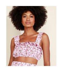 top cropped feminino mindset estampado floral com babado alça larga decote reto rosa claro