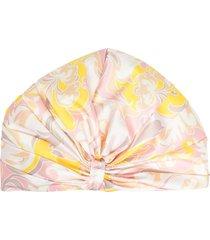 emilio pucci tropicana-print twill turban - pink