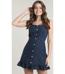 vestido feminino curto com linho e botões alça média azul marinho