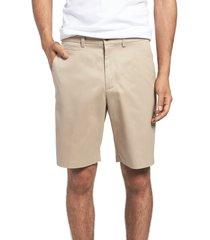 men's big & tall nordstrom men's shop smartcare(tm) flat front shorts, size 46 - brown