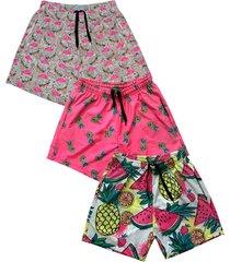 kit 3 shorts praia   estampado microfibra com elastano bolsos nas laterais