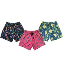 kit 3 shorts praia masculino estampado microfibra com elastano bolsos nas laterais