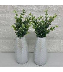 conjunto de vaso branco com com brilho - branco - feminino - dafiti