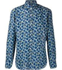 barba long-sleeved spread-collar shirt - blue