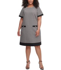 tommy hilfiger plus size short-sleeve houndstooth dress