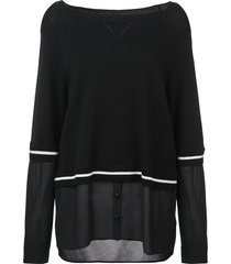 nicole miller boat neck blouse - black