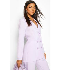tall double breasted woven blazer, lilac