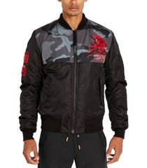 avirex men's split camo reversible water-resistant bomber jacket