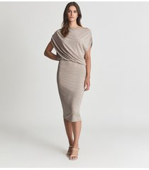 reiss evelyn - jersey drape dress in neutral, womens, size l