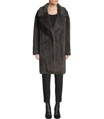 donna karan women's faux fur teddy coat - steel - size l