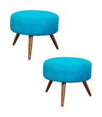 kit 02 puffs banqueta redonda suede azul - ds móveis