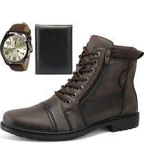 bota coturno casual com zíper sapatofran perfuros tabaco com relógio e carteira