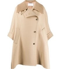 chloé oversized cape - neutrals