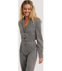 na-kd classic cropped blazer - grey