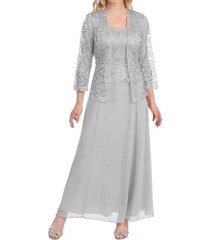 fanmu long sleeve mother of the bride dresses with jacket silver grey us 18plus
