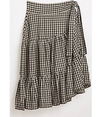 lou & grey lou & grey plaid tiered midi skirt